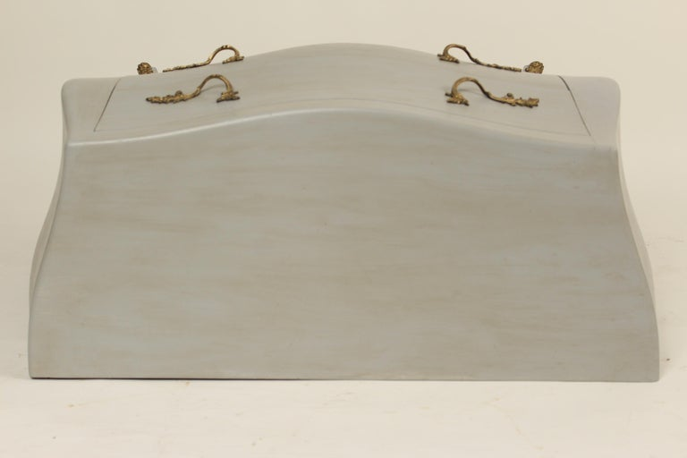 Bronze Italian Louis XV Style Painted Chest of Drawers For Sale
