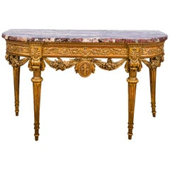 Italian Louis XVI Giltwood Console Table with Marble Top