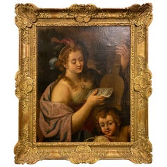 Italian Louis XVI Oil on Canvas Depicting Allegory of Music