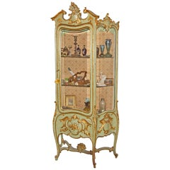 Italian Louis XVI Painted and Parcel Gilt Curio Cabinet