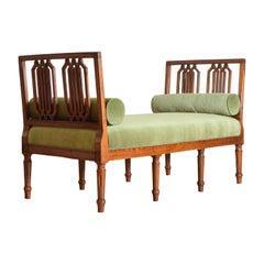 Italian Louis XVI Period Carved Fruitwood Bench Upholstered in Velvet