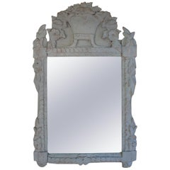 Italian Louis XVI Richly Carved Painted Mirror for Vanity or Wall, 19th Century
