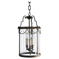 Italian Louis XVI Style Bronze Glass Three-Light Lantern