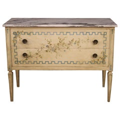 Italian Louis XVI Style Chest of Drawers in Lacquered and Painted Wood