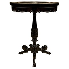 Italian Louis XVI Style Ebony, Bone and Pietra Dura Marble Side Table