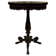 Italian Louis XVI Style Ebony, Bone and Pietra Dura Marble Side Table