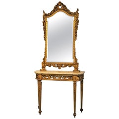 Italian Louis XVI Style Giltwood Mirror with Console Table, 19th Century