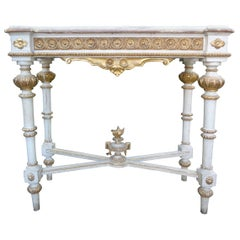 Italian Louis XVI Style Painted and Parcel Gilt Console Table with Marble Top