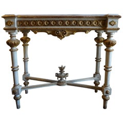 Italian Louis XVI Style Painted and Parcel-Gilt Console Table with Marble Top