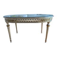 Italian Louis XVI Style Painted & Parcel-Gilt Dining Table, c. 1940s