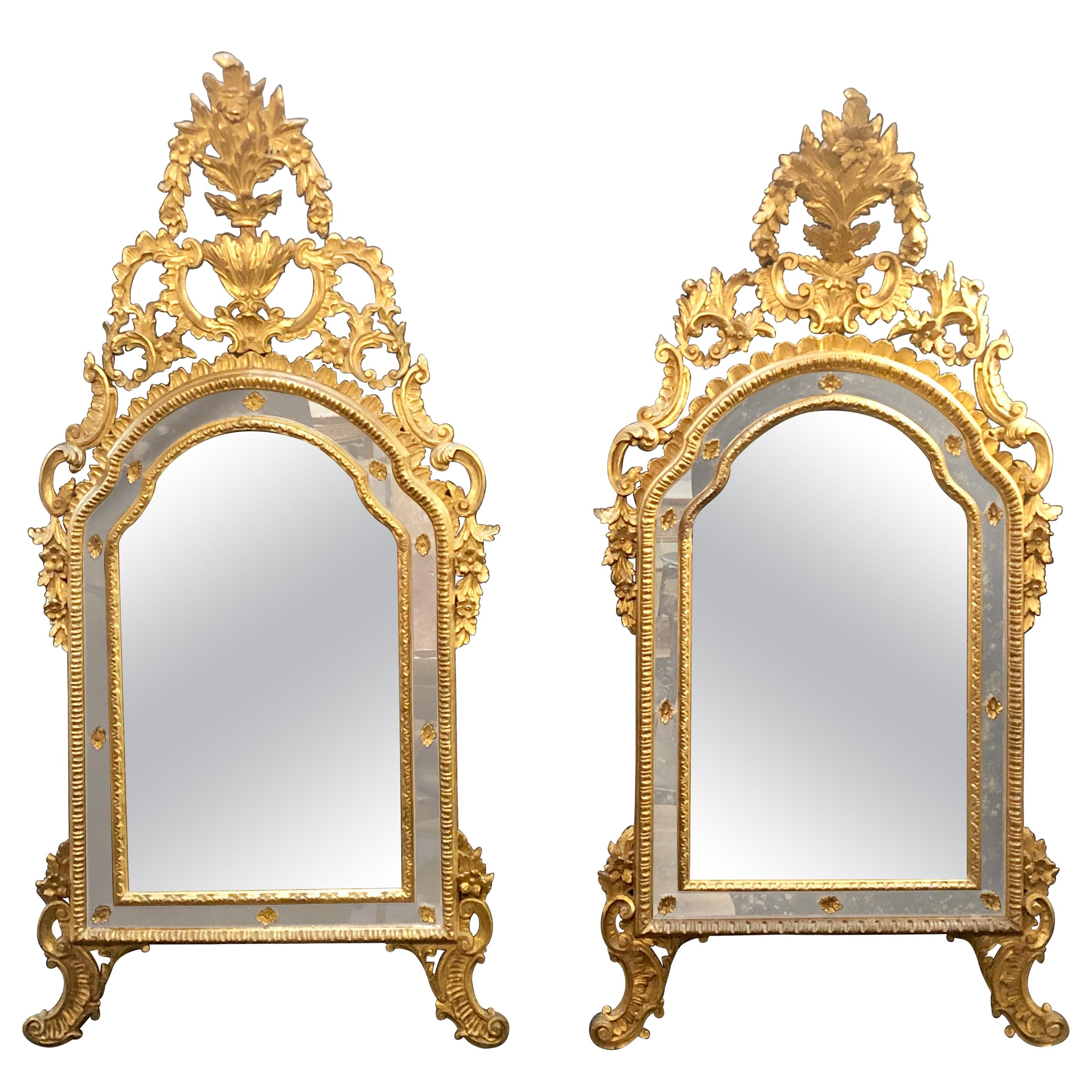 Italian Louis XVI Style Wall or Console Mirror, Compatible Pair