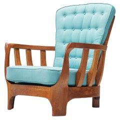 Italian Lounge Chair in Oak and Blue Fabric