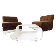 Italian Lounge Chair Set in the Style of Mario Bellini C&B Italia, Midcentury