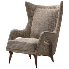 Italian Lounge Chair with Original Grey Upholstery