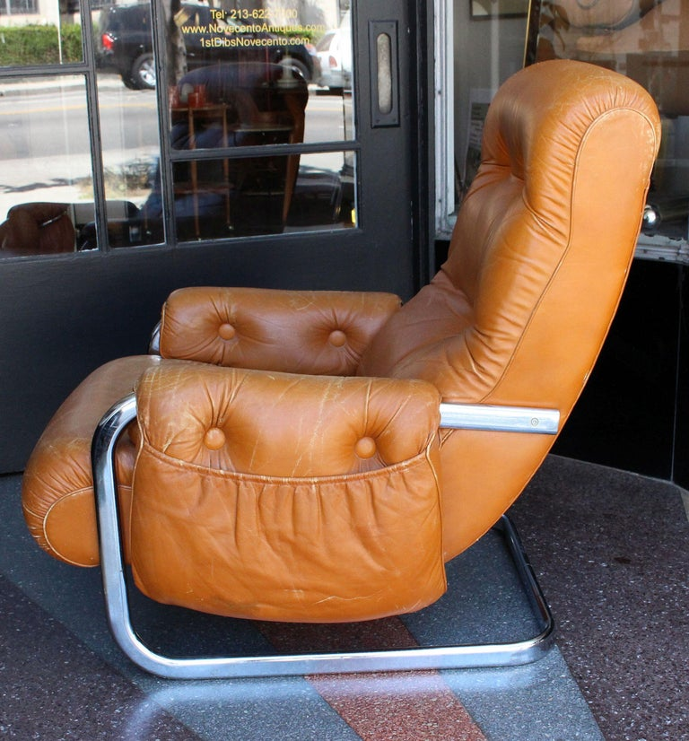 Chrome Italian Lounge Chair with the Ottoman For Sale