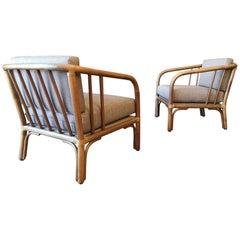 Italian Lounge Chairs in Beechwood and Rattan