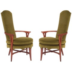 Italian 1960s Lounge Chairs in Green Velvet and Walnut