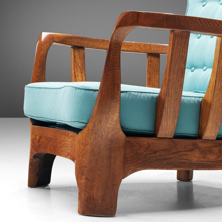 Italian Lounge Chairs in Oak and Blue Fabric For Sale 5