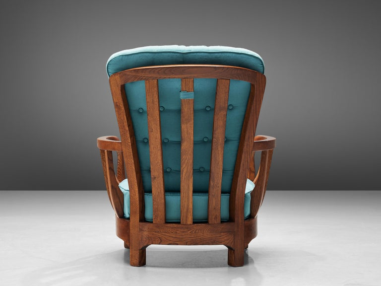 Italian Lounge Chairs in Oak and Blue Fabric For Sale 7