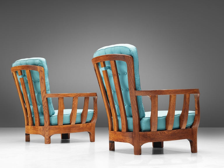 Italian Lounge Chairs in Oak and Blue Fabric In Good Condition For Sale In Waalwijk, NL