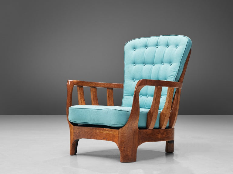 Mid-20th Century Italian Lounge Chairs in Oak and Blue Fabric For Sale