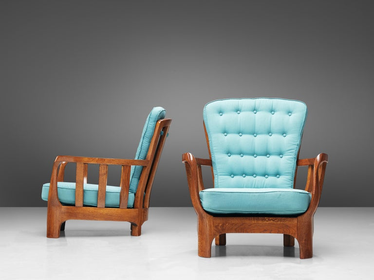 Italian Lounge Chairs in Oak and Blue Fabric For Sale 1
