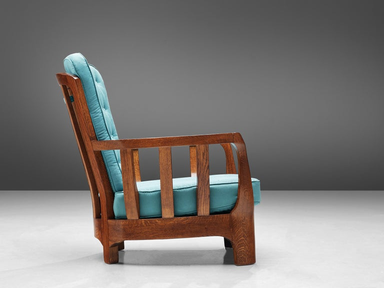 Italian Lounge Chairs in Oak and Blue Fabric For Sale 2