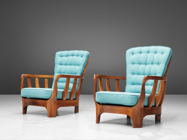 Italian Lounge Chairs in Oak and Blue Fabric For Sale 3