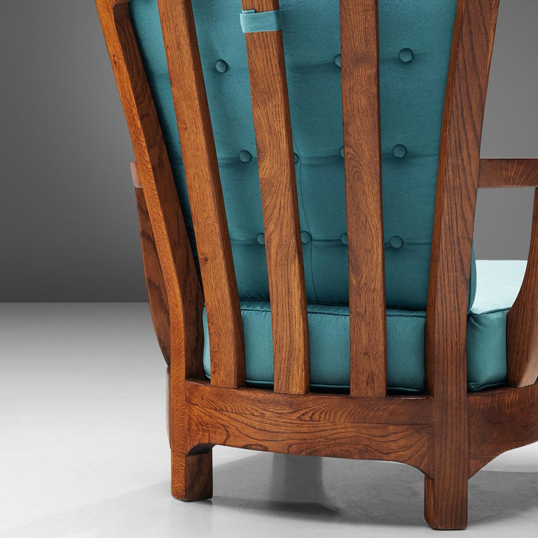 Italian Lounge Chairs in Oak and Blue Fabric For Sale 4