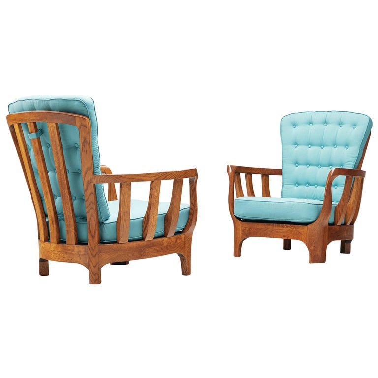Italian Lounge Chairs in Oak and Blue Fabric For Sale