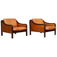 Italian Lounge Chairs in Tan Leather, Italy, circa 1950