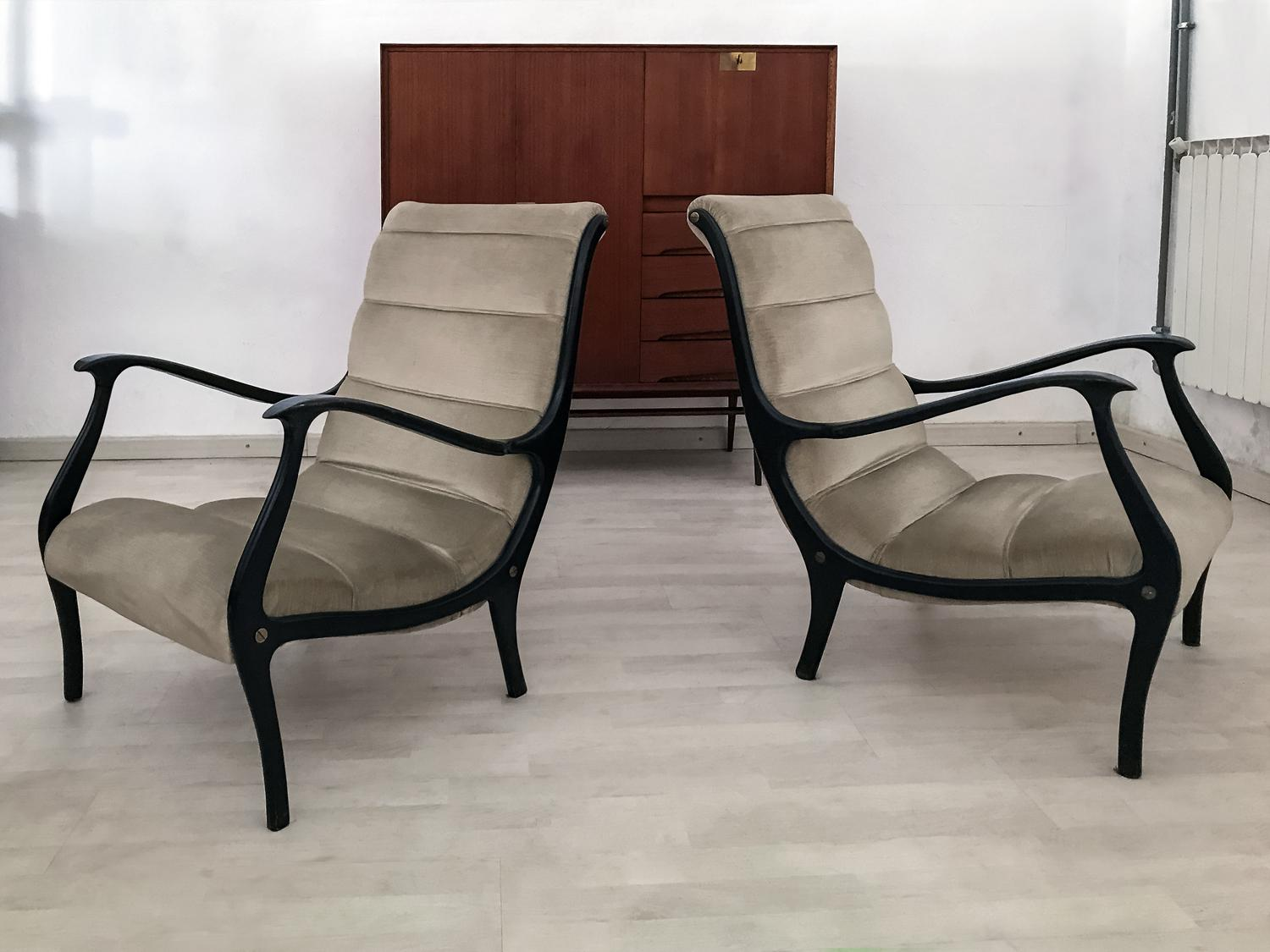 Mid Century Modern Italian Lounge Chairs In Velvet By Ezio Longhi For Elam,  1950s
