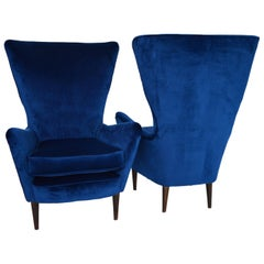 Italian Lounge Chairs Restored with Royal-Blue Velvet, 1950s