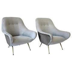 Italian Lounge Chairs the Style of Gigi Radice Gray Mohair and Gray Ultra Suede