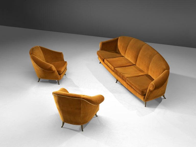 Mid-Century Modern Italian Lounge Set in Bronze Orange Velvet For Sale