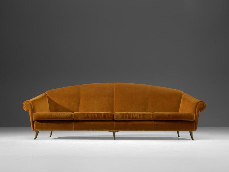 Italian Lounge Set in Bronze Orange Velvet In Good Condition For Sale In Waalwijk, NL