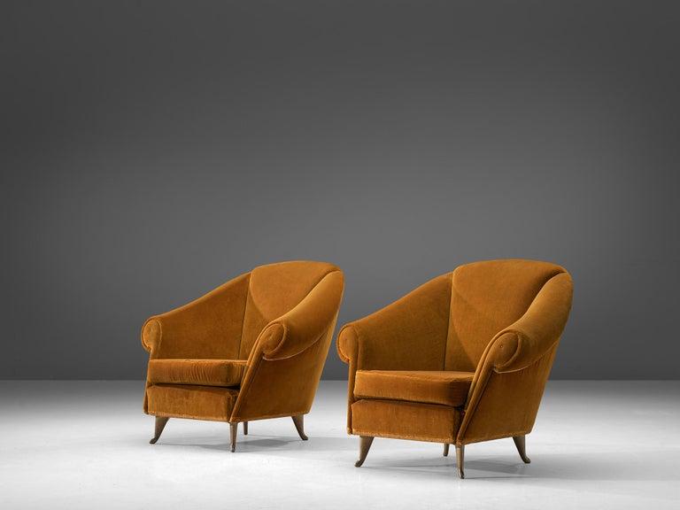 Mid-20th Century Italian Lounge Set in Bronze Orange Velvet For Sale