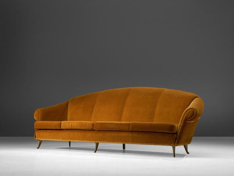 Brass Italian Lounge Set in Bronze Orange Velvet For Sale