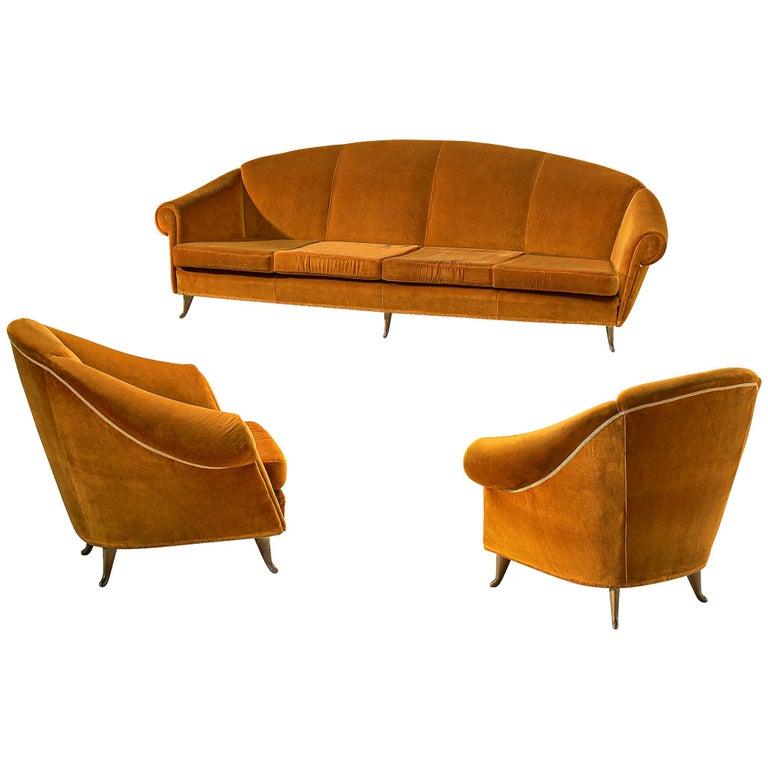 Italian Lounge Set in Bronze Orange Velvet For Sale