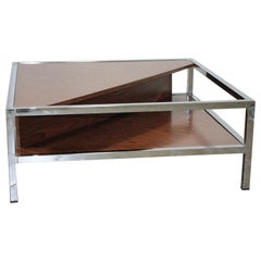 Italian Low Table 1970s Wood and Chrome in the Style of Knoll