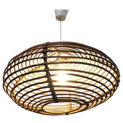 Italian Lozeng Shaped Rattan Ceiling Lamp, 1960s