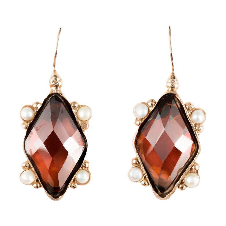 Italian Lozenge Crystal and Pearl Vermeil Drop Earrings