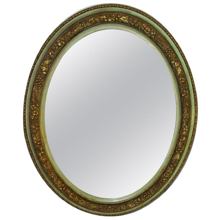 Italian, Lucca 19th Century Carved Gold Green Oval Mirror For Sale