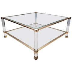 Italian Lucite and Brass Square Coffee Table by Orsenigo, 1970s