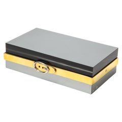 Italian Lucite and Chrome Box with Buckle Detail