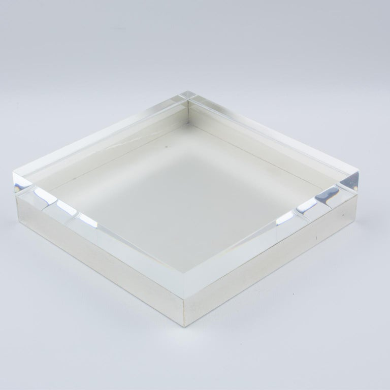 Italian Lucite and Silver Plate Box For Sale 4
