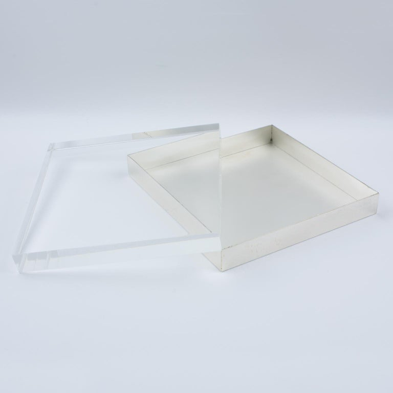 French Italian Lucite and Silver Plate Box For Sale