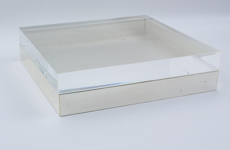 Late 20th Century Italian Lucite and Silver Plate Box For Sale
