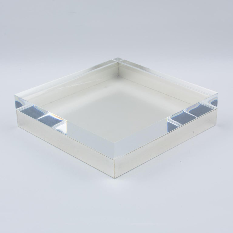 Italian Lucite and Silver Plate Box For Sale 2