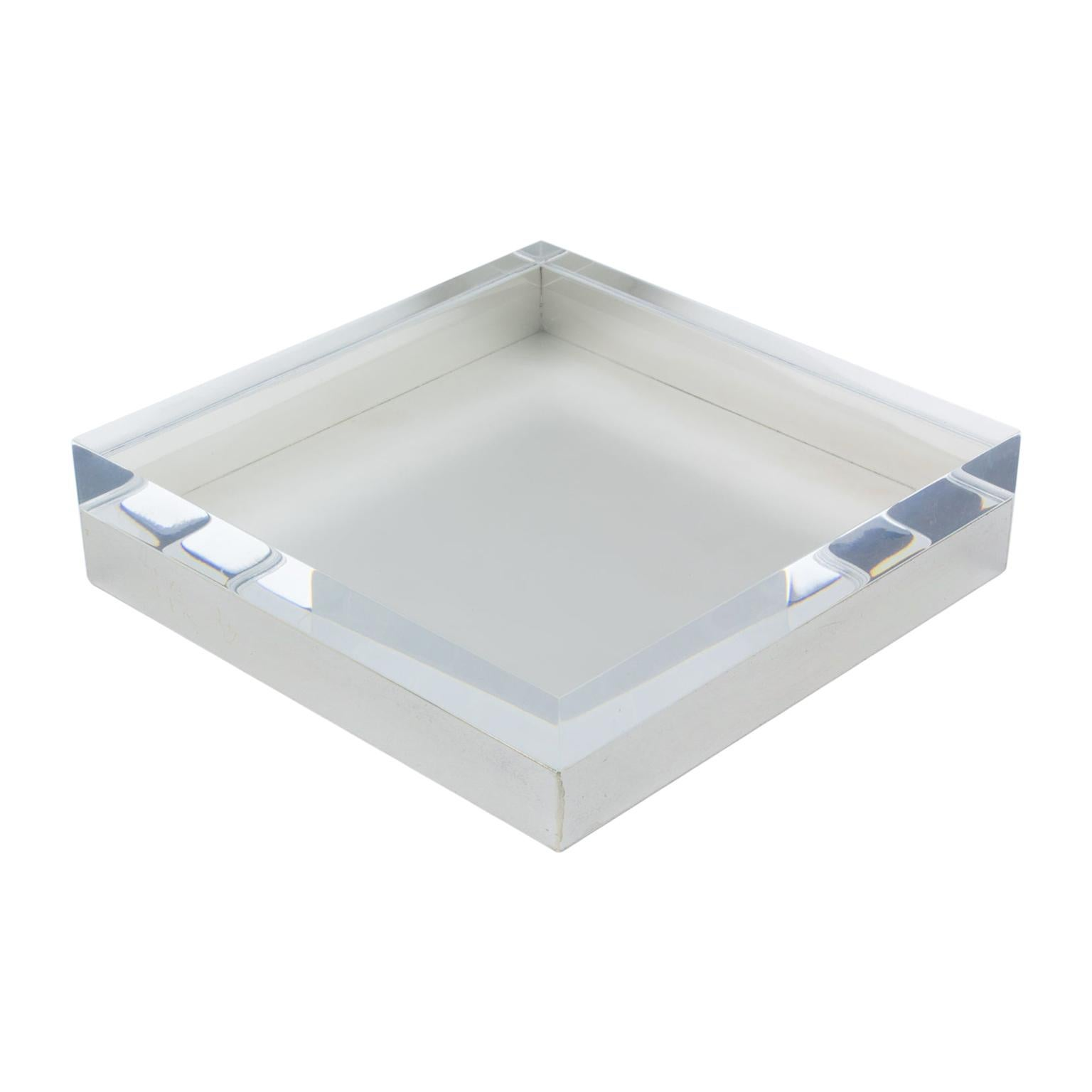 Italian Lucite and Silver Plate Box
